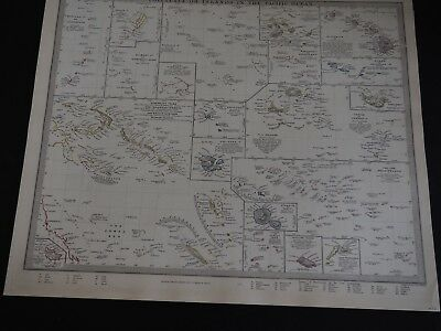 """Antique Map """"Polynesia or Islands In The Pacific Ocean"""""""
