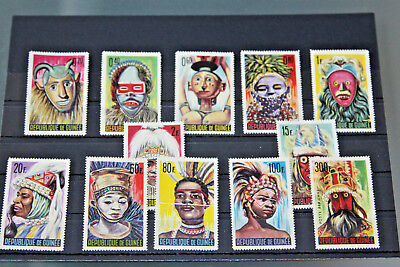 Guinea - 1965 Native Masks Full Set Of 12 All Unmounted Mint
