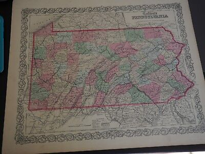 """Antique Map """"Colton's Pennsylvania"""" 1867 Very nice looking Vintage Map"""