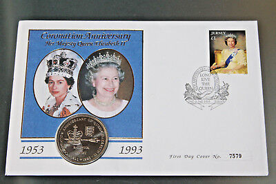 Jersey 1993 - 40Th Ann Of Coronation Fdc With £2 Coin Encapsulated