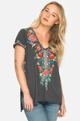 NWT Johnny Was Samira Drape Top Embroidered Tee S $145 Gray Floral Embroidery