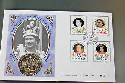 Guernsey 1993 - 40Th Ann Of Coronation Fdc With £2 Coin Encapsulated
