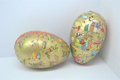 Western German Easter Egg Candy Container Paper Mache Bunnies Rabbits (2)