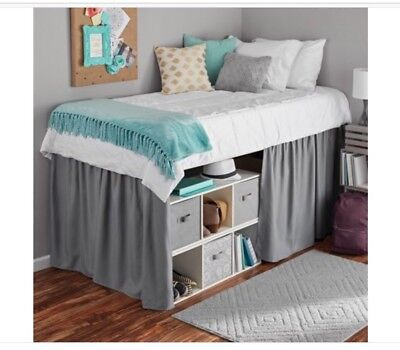 Mainstays GRAY Extra Long Extended Dorm Bed Skirt  34'' LONG X 44'' WIDE