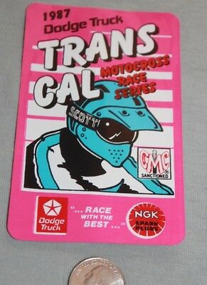 Vintage 1987 Dodge Trans CAL motocross racing motorcycle Sticker 80's decal