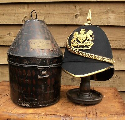 Victorian - Royal Engineers Blue Cloth Helmet & Carrying Tin - 1897 British Army