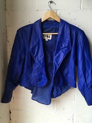 Vintage Electric Blue Leather Jacket 80s Shoulderpads Grunge S