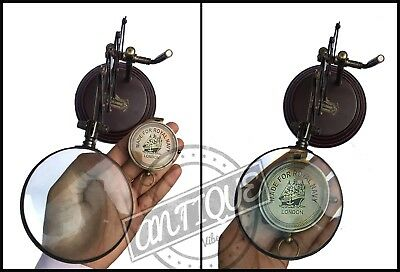 Vintage Desk Top Table Magnifying Glass Brass Handmade Antique Marine Collection