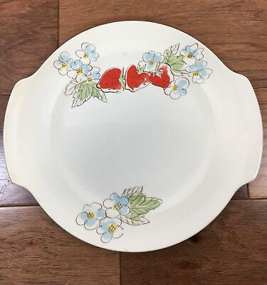 Vtg Rare Salem China Strawberry Patch Handled Cake Plate Round Serving Platter