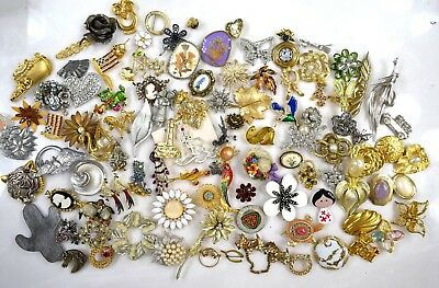 Big Lot of 111 Vintage Pins Rhinestones Animals Floral Great Selection 3 Lb