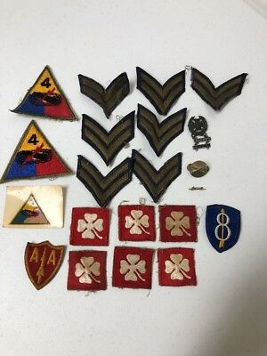 WW2 WWII & Other Patch Pin & Medal Lot 21 Items