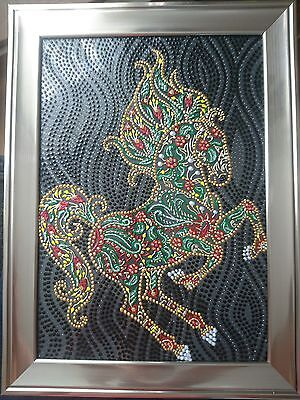Original Modern Art 'Floral Horse' Painting on Glass 100% Hand Painted NEW