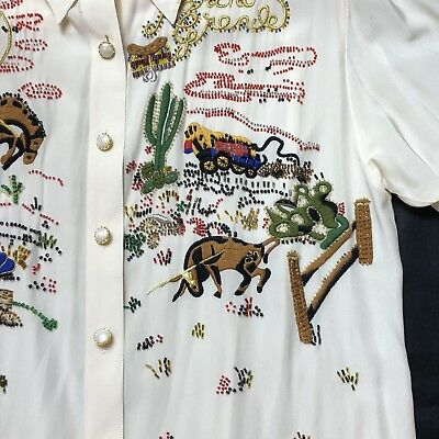 "Western Silk blouse Embellished 42"" Chest Shirt Rockabilly Vintage Cowgirl"
