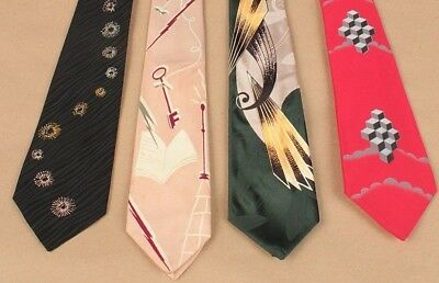 Vtg Men's 1950s 1960s Lot of 4 Skinny Neckties 50s 60s Atomic Ties Tie #5488t