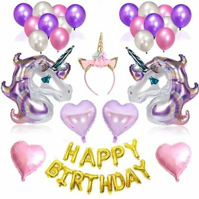 Unicorn Heart Happy Birthday Letter Rainbow Foil Balloons Party Decoration Props