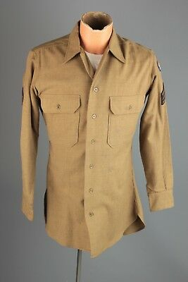 Vtg Men's WWII US Army Air Force Wool Dress Shirt Sz M 15x33 40s WW2 USAF #5218