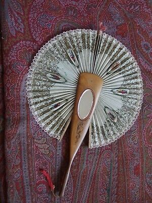 antique fan Sorrento ware retractable with mirror 1900