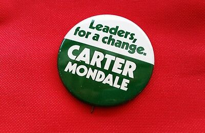 """Carter Mondale """"Leaders for a change,"""" Presidential campaign Button"""