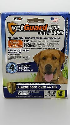 NEW VetGuard Plus Tick Flea for Dogs X-Large Dogs over 66 lbs. 4 month supply-H