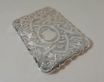 An Ornate Antique 'Hilliard & Thomasan' Silver Card Case : Birmingham 1864
