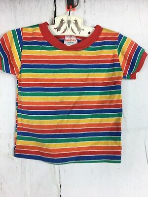 Retro Health-Tex Childs Rainbow Stripe Ringer  T-Shirt 18 Months 70's