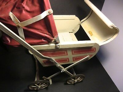 South Bend Toy Mfg Co - Doll Carriage ~ Baby Buggy - Indiana USA - red & white