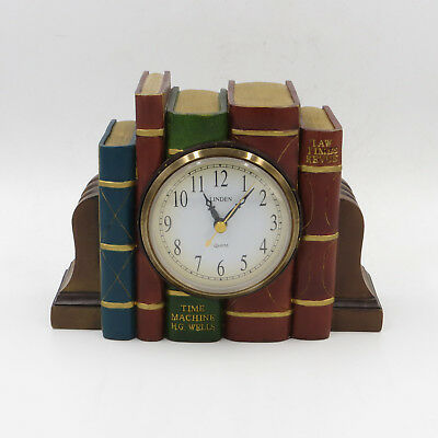 "Linden Time Machine / H.G. Wells Mantle Book Mantel Clock 8"" x 6""x 3.5"""