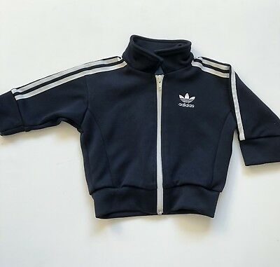 Boys 3-6 Months Navy Blue Striped Adidas Tracksuit Top