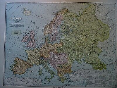 Vintage 1899 EUROPE Map ~ Authentic Original 110 Year Old Atlas Map 80618
