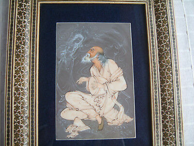 Large vintage Persian signed painting in Khatam marquetry frame