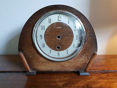 Antique 1930's Enfield Oak Mantel Clock Case with Original Glass Front (Vintage)