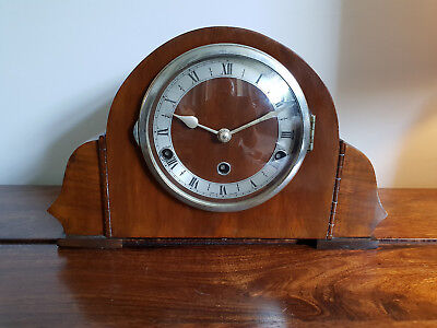 Antique 1930's Walnut Westminster Chime Mantel Clock by Norland (Vintage Clock)