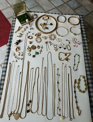 Lovely Lot of All Wear Mostly Vintage Gold Filled Assorted Jewelry  280+grams!