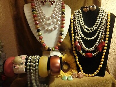 Vintage To Mod Jewelry Lot* Red Yellow Green Woven Silk Necklaces Bracelets