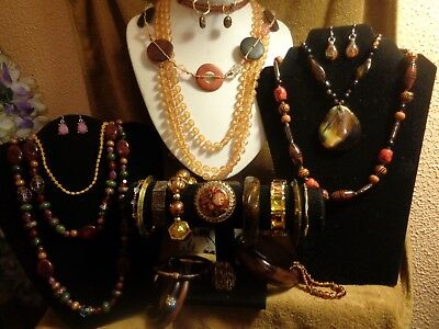 *vintage-Modern Costume Jewelry Lot* Beaded Gold Tone Necklaces Bracelets More