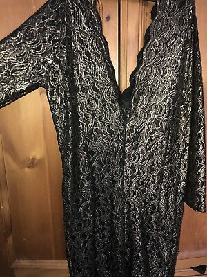 Ladies Size 18 Gold Black Lace Dress Knee Length Party Cocktail Sexy Next