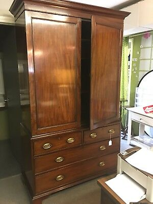 Antique English Flame Mahogany Linen Press Circa 1840