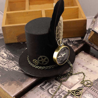 Steampunk Gears Clip Mini Top Hat Victorian Women Girl Costume Feather Dress Cap