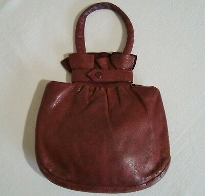 Small Butter Soft Leather VINTAGE Antique Red Pouch Bag Purse Grosgrain Goodwood
