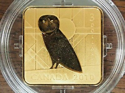 2010 Canada Square Barn Owl $3 Coin Gold Plated Sterling Silver In Box w/ Coa