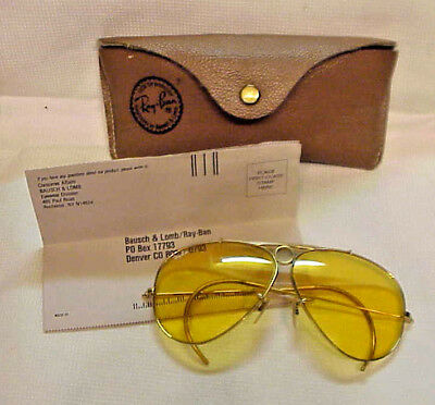 Vintage B&L RAY BAN Yellow Aviator Sunglasses Case, papers, tag MINT!!