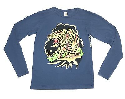 Ed Hardy Shirt Men Small Don Ed Hardy Tiger Graphic Blue Long Sleeve Casual Tee