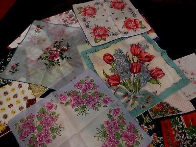"lot of 20 Vintage  floral hankies most 11 1/2  to 13 1/2"" few unused"