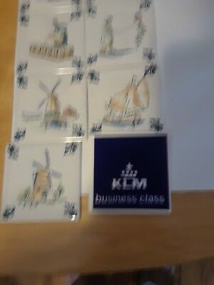 8Vintage KLM Business Class Delft Tiles/Coasters