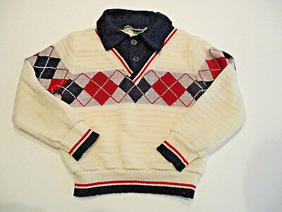 Vintage Bull Frog Knits Sweater Sz. 4T Boy's Argyle Collared Red Navy EUC U.S.A.