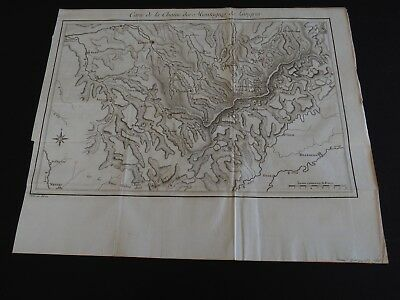 """Antique Map, 'Map of the Langres Mountains Chain"""""""