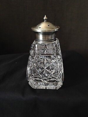 An Antique Sterling Silver Topped Crystal Sugar Shaker Burtons & Waters B'ham