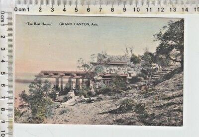 "Fred Harvey PC - ""The Rest House.""  GRAND CANYON NATIONAL PARK - Hand Colored"