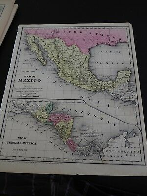 "Antique Map, ""Map of Mexico and Map of Central America"" Daniel Burgess, 1854"