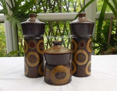 Retro Denby Arabesque Salt, Pepper & Mustard Cruet Set c1970's